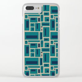 Geometric Rectangles in Navy, Teal and Tan 2 Clear iPhone Case