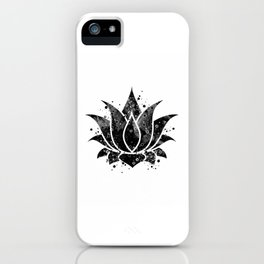 Lotus Flower Gift Black and White Art Lotus Pose Bean of India Lotus Blossom iPhone Case