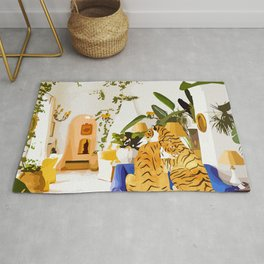 Tiger Reserve Illustration, Tropical Travel Luxury Villa, Wildlife Home decor Pastel Rug
