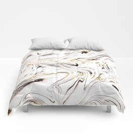 Liquid Gold Silver Black Marble #1 #decor #art #society6 Comforters