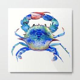 Blue Crab, crab restaurant seafood design art Metal Print