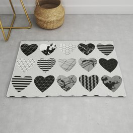 Metallic Love - Hexagon, stripes, triangles, geometric, marble, paint splat hearts! Rug