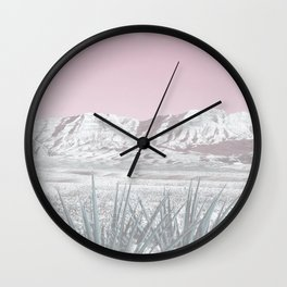 Mojave Snow // Red Rock Canyon Las Vegas Desert Landscape Light Pink Sky Vintage Photography Wall Clock