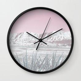 Mojave Snow // Red Rock Canyon Las Vegas Desert Landscape Light Pink Sky Vintage Photography Wall Clock