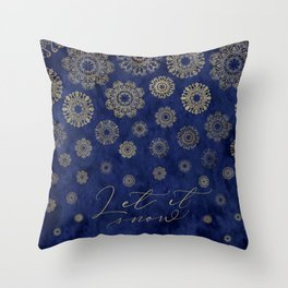 Let it snow, gold lace snowflakes in the night sky Throw Pillow