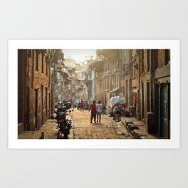 Afternoon haze. Bhaktapur, Nepal. Art Print