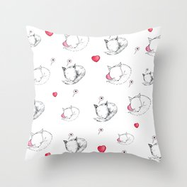 Love Fox Doodle Art Throw Pillow
