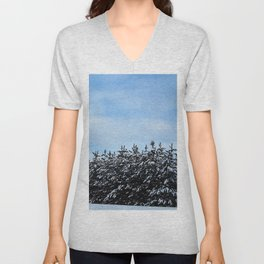 Christmas Tree Forest Unisex V-Neck