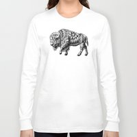 bison Long Sleeve T-shirts featuring Bison by BIOWORKZ