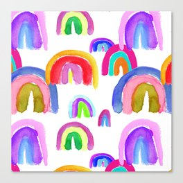 Vivid Watercolor Rainbows in White Canvas Print