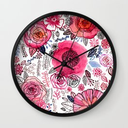 Pink Floral Mix Wall Clock