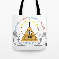 bill cipher Tote Bags featuring Bill Cipher by Grace T