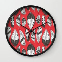 Black and white feathers pattern Wall Clock
