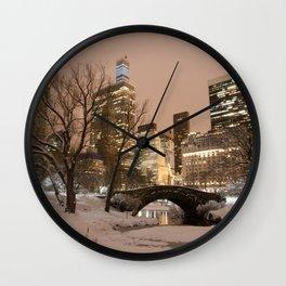 NYC - Gapstow Bridge, Central Park, Snow Wall Clock