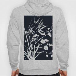 bamboo and plum flower white on black Hoody