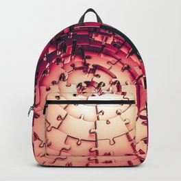 Metal Puzzle RETRO RED / 3D render of metallic circular puzzle pieces Backpack