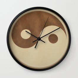 Jin Jang wooden marquetry picture art Wall Clock