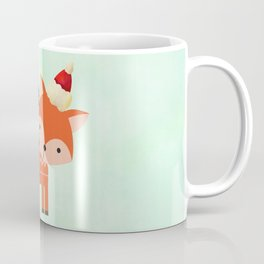 Orange Fox in Santa Hat in front of a Pine Tree Coffee Mug