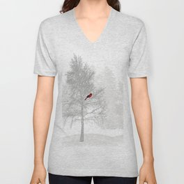 Red Cardinal in a Snowy White Forest Unisex V-Neck