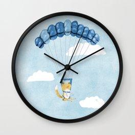 Cutie Parachuting Dog Wall Clock