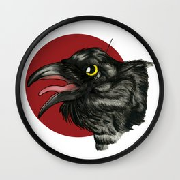 Red Moon Crow Wall Clock