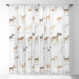 Lots of Cute Doggos - With Names Sheer Curtain