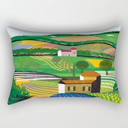 Green Fields Rectangular Pillow