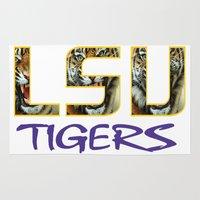 decal Area & Throw Rugs featuring LSU NEW DECAL by The Greedy Fox