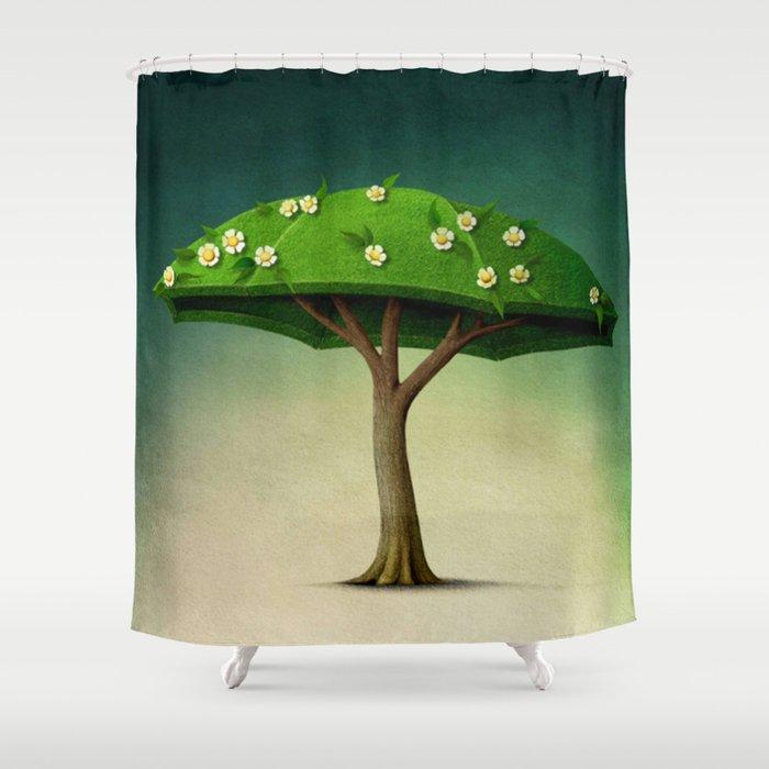 A umbrella  single flowering tree Shower Curtain