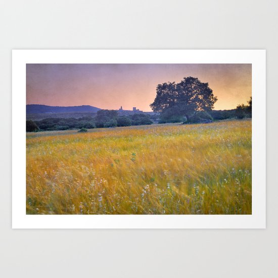 Windy sunset at the medieval castle Art Print
