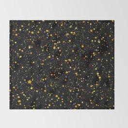 Glitter Stars3 - Gold Black Throw Blanket