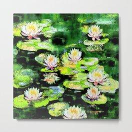 Eight Waterlilies Metal Print