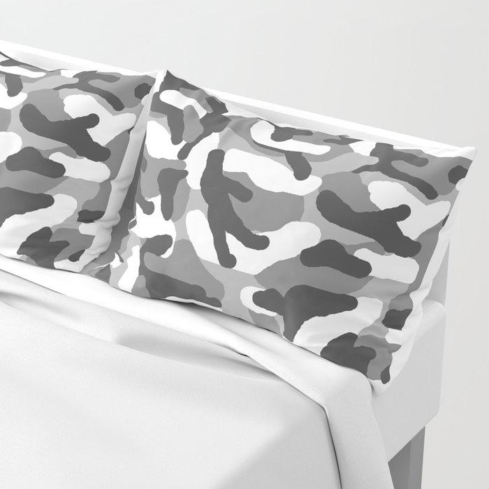 Grey Gray Camo Camouflage Pillow Sham