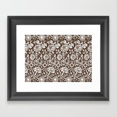 "William Morris Floral Pattern | ""Pink and Rose"" in Chocolate Brown and White Framed Art Print"