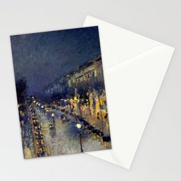 Camille Pissarro - Boulevard Montmartre at Night Stationery Cards