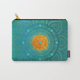 """Turquoise and Gold Mandala"" Carry-All Pouch"
