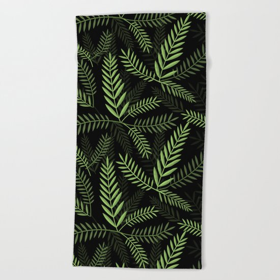 GREEN LEAVES ON BLACK Beach Towel