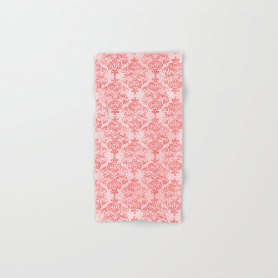 Vintage Retro Damask Watercolor Pattern Pastel Pink Hand & Bath Towel