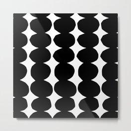 Stacking Pebbles Black and White Metal Print