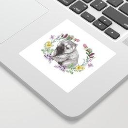 Wombat in Floral Wreath Sticker