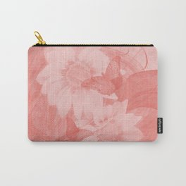 Surreal butterflies and flowers in living coral Carry-All Pouch