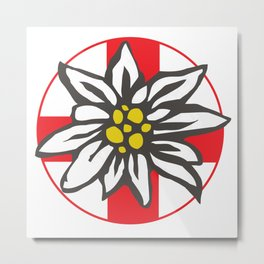 Swiss Flag Edelweiss Metal Print