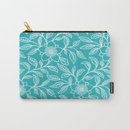 Aquamarine Lace Floral Carry-All Pouch