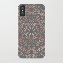 Mandala Rose Gold Pink Shimmer on Soft Gray by Nature Magick iPhone Case