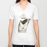shark V-neck T-shirts featuring shark by Кaterina Кalinich