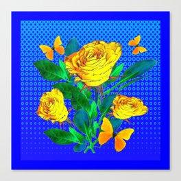YELLOW BUTTERFLIES, ROSES, & BLUE OPTICAL ART Canvas Print