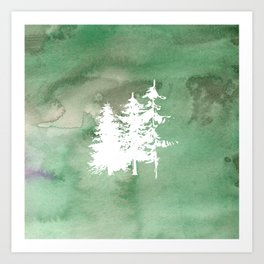 Hand painted forest green white watercolor pine trees Art Print