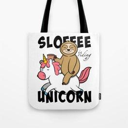 Sloth Is Riding A Unicorn Like A Horse Tote Bag