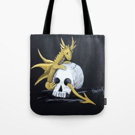 Gold Dragon & Skull Tote Bag