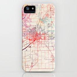 Joliet map Illinois painting iPhone Case